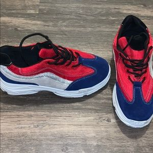 Blue red and silver glitter Fashion sneakers